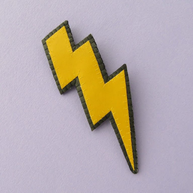 Faux Leather Lightning Bolt Brooch
