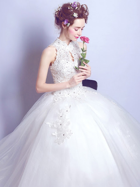 http://www.millybridal.org/ball-gown-high-neck-tulle-floor-length-appliques-lace-open-back-modest-wedding-dresses-milly00022881-12885.html