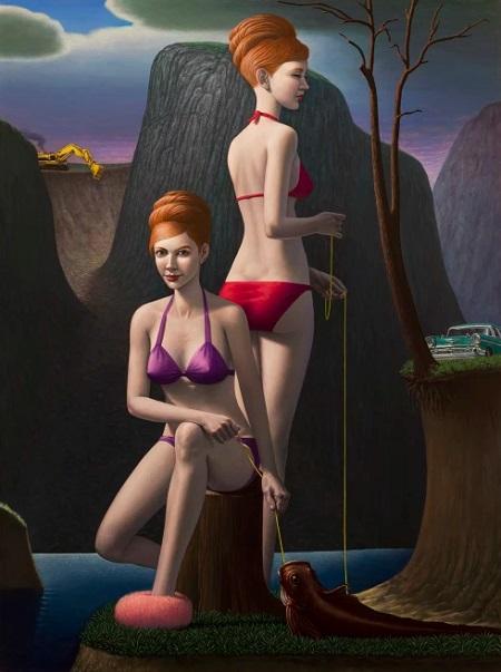 Obra de arte, pintura contemporanea: una mujer con gemela pescan en el lago, al fondo las montañas de un valle. Cool picture.
