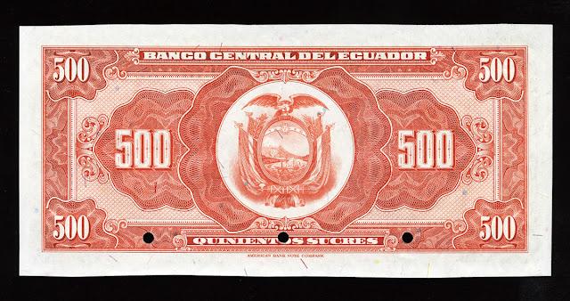 Billete Ecuador 500 Sucres
