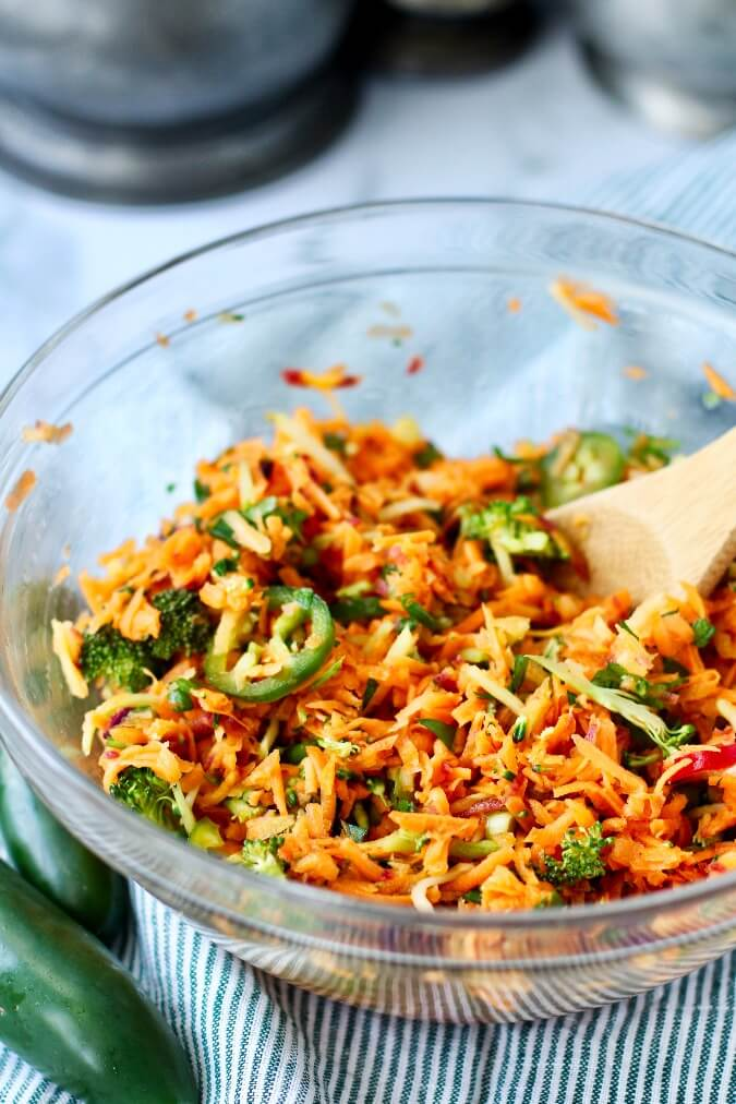 Spicy Carrot and Broccoli Slaw mixed