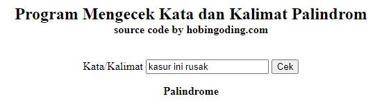 Cek Palindrome JavaScript