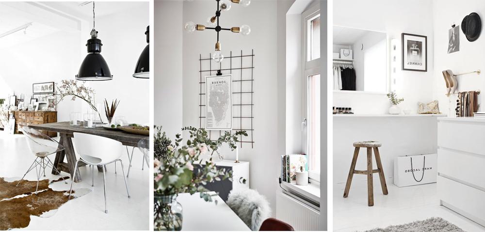 estilo decorativo nórdico rústico con salón blanco y muebles de madera tonos neutros