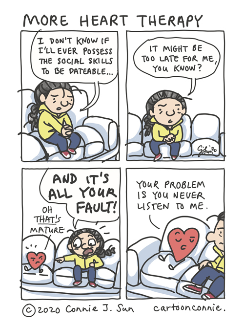 Comic illustration about learning social skills for dating in therapy with a cartoon heart, emotions, blaming, by connie sun, cartoonconnie