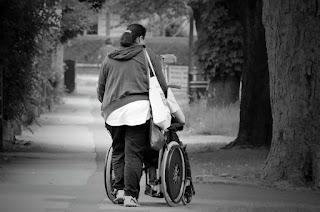 Paralyzed on wheelchair