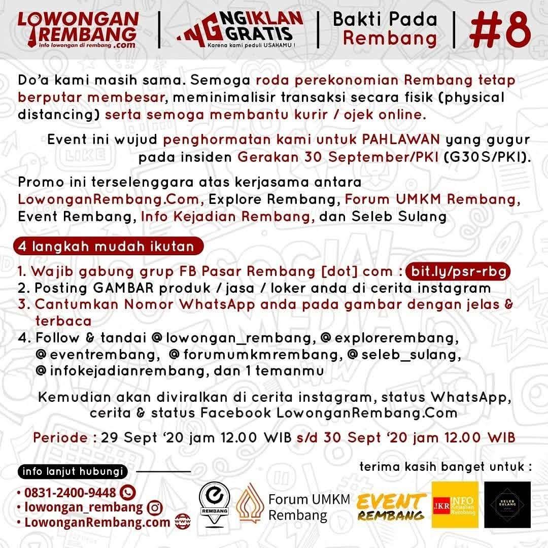 Peringati G30S/PKI Lowongan Rembang Bersama Media Sosial Lainnya Selenggarakan Ngiklan Gratis Untuk Ke-8 Kalinya
