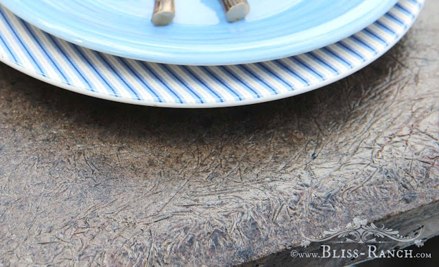 Cement Planked Top Farmhouse Patio Table, Bliss-Ranch.com