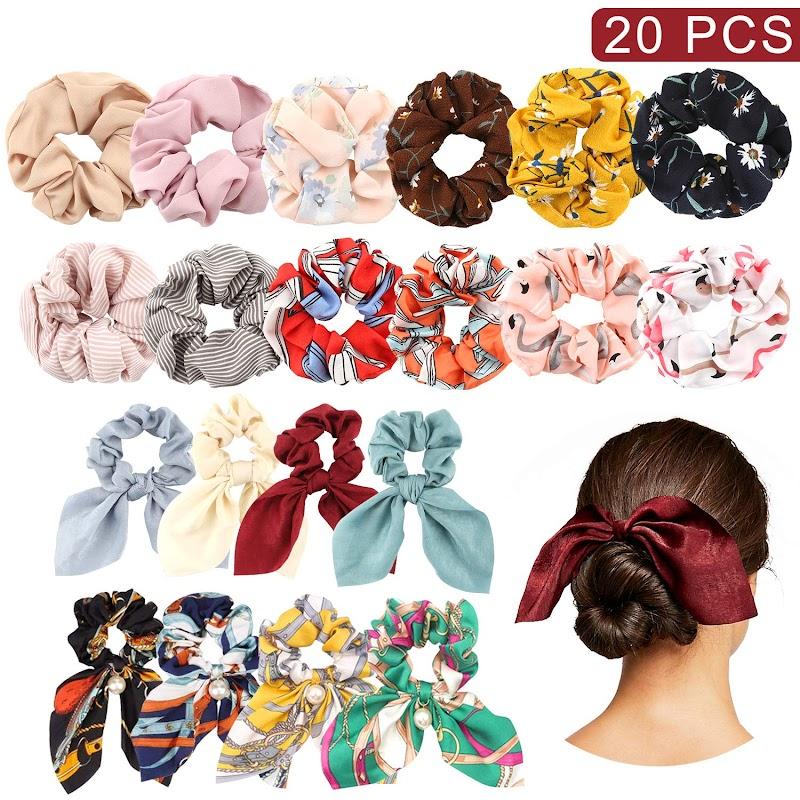 20% off 20PCS Stain Hair Scrunchies
