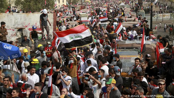 For political change: Iraqis have been taking to the streets for weeks