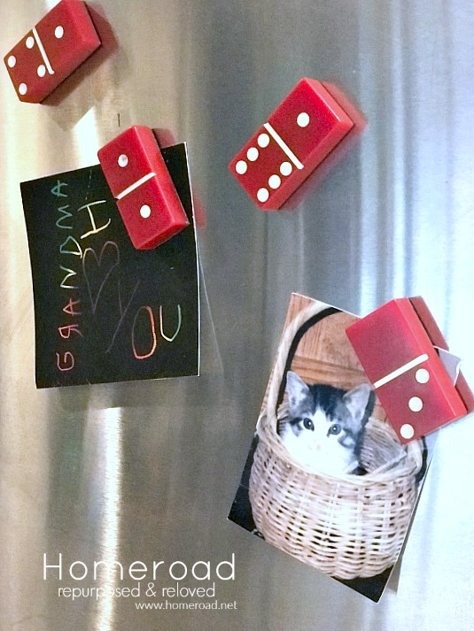 Easy to Make Red Domino Refrigerator Magnets for the Kitchen