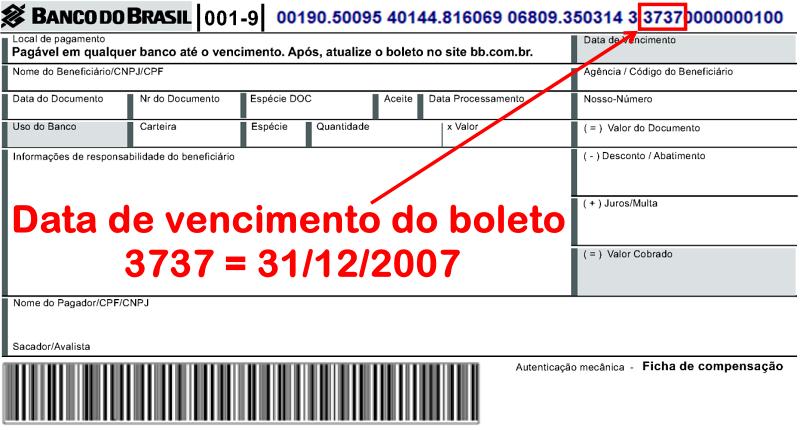 Boleto bancário com vencimento em 31/12/2007