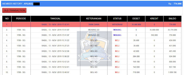 Bukti Jakpot Member di Pangerantoto1 13 November 2019