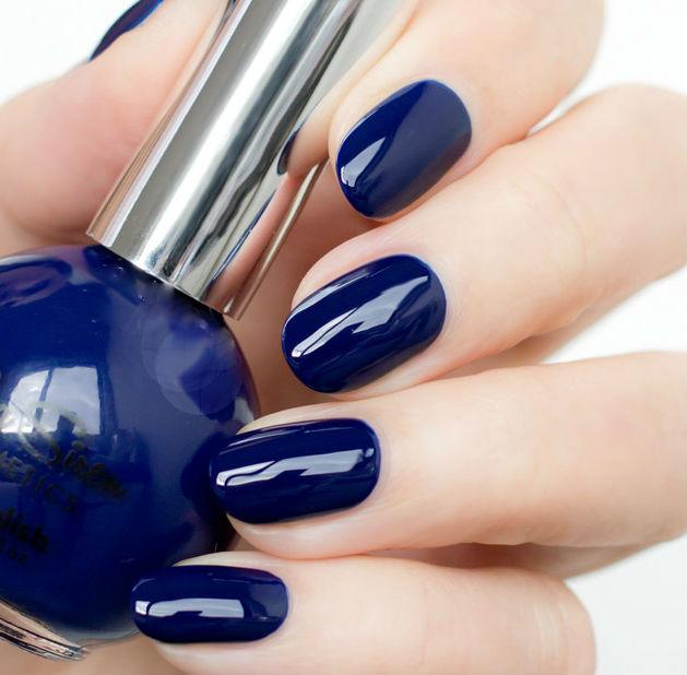 Designs Art Nail Polish: Shineing Navy Blue Nail Art Designs No 35