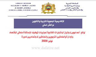 لوائح المترشحين لاجتياز مباراة توظيف أطر الأكاديمية نونبر 2020 مراكش أسفي