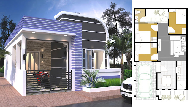 Sketchup One Story House With 3 Bedroom 7x12m
