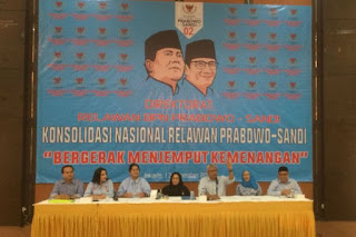Ketua Panitia Deklarasi Nasional Relawan Nasional Didik Hariyanto di Gedung RJA Kompleks Perumahan Anggota DPR, Kalibata, Jakarta Selatan, Selasa(13/11/2018).