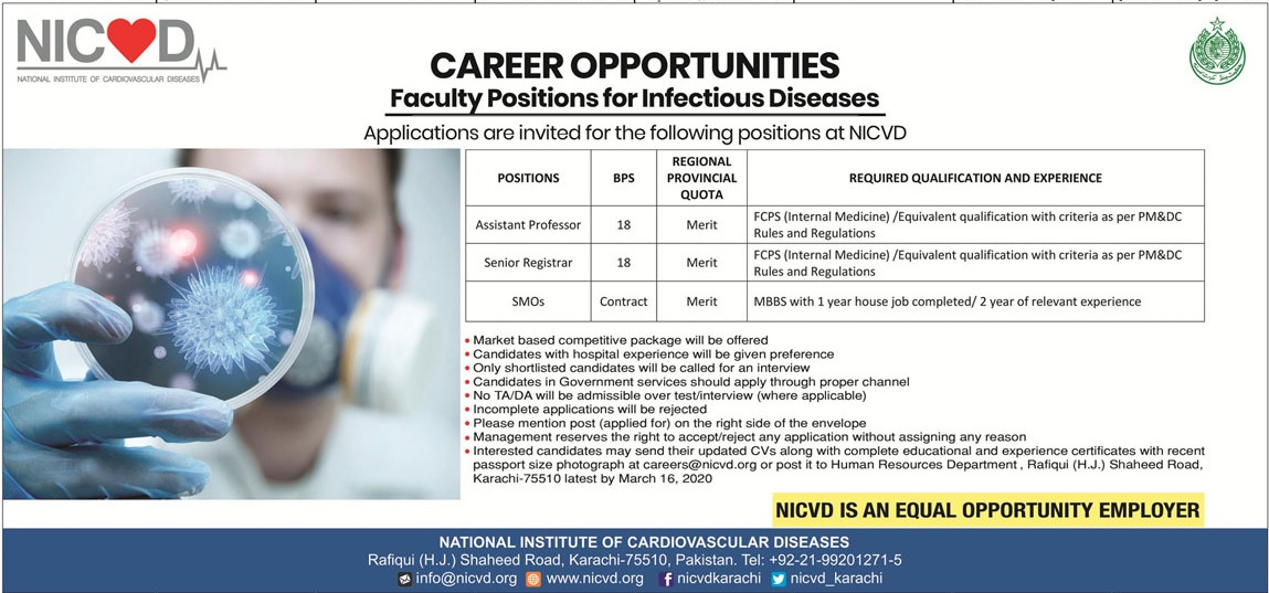 NICVD Institute Karachi Jobs 2020 for Professors & Registrar