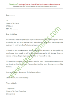 sample apology letter to hotel guest for poor service