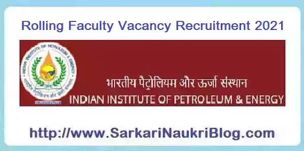 IIPE Visakhaptnam Faculty Vacancy Recruitment 2021