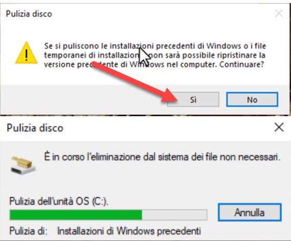 eliminazione dei file non necessari di windows 10