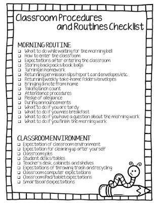 Checklist of elementary classroom procedures and routines for the first week of school