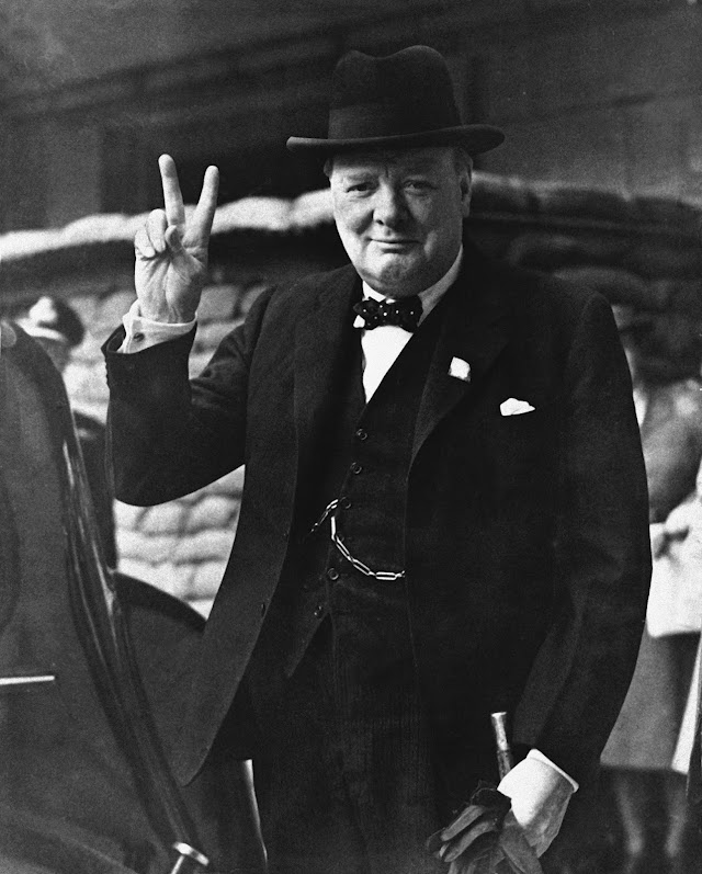 The courageous symbol of the determined leadership that brought victory to Britain: Sir Winston Churchill