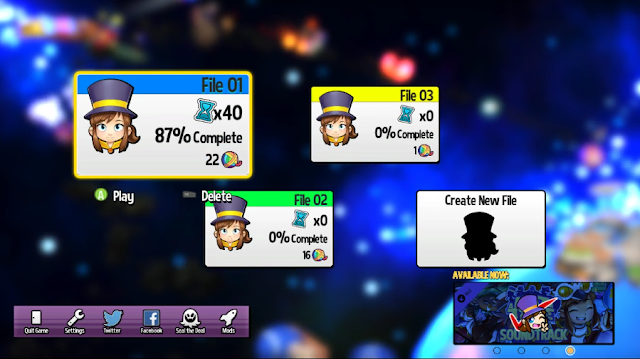 A Hat in Time save files selection screen Seal the Deal