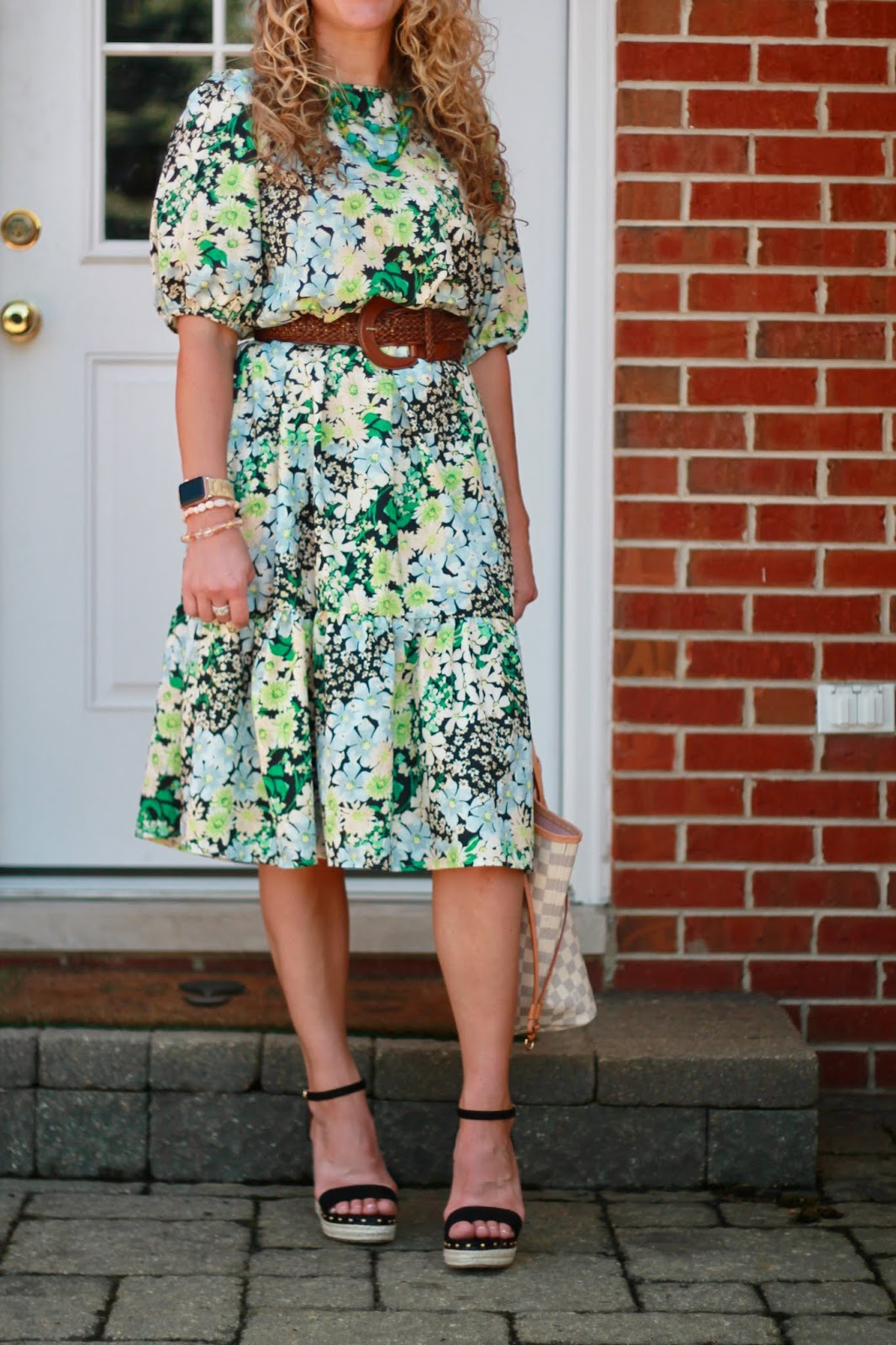 summer floral dress, belted dress, woven belt, LV azure neverfull
