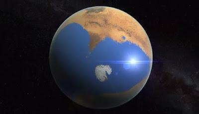 imagen ilustrativa de marte con oceano
