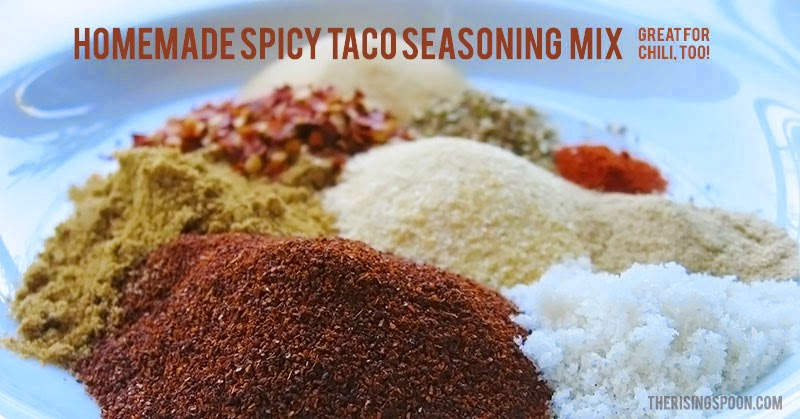 A slightly spicy homemade taco seasoning made by blending spices from your kitchen pantry. Make your own to save money, cut down on sodium in pre-packaged brands, and avoid artificial ingredients! Adjust the heat level to your taste by reducing or increasing the amount of crushed red pepper and cayenne pepper.