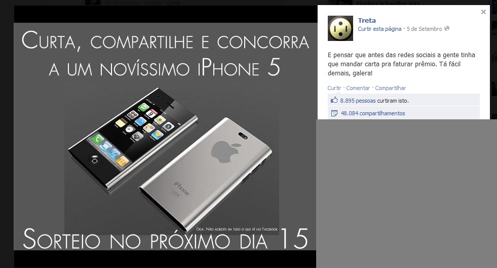 sorteio iphone 5 fake