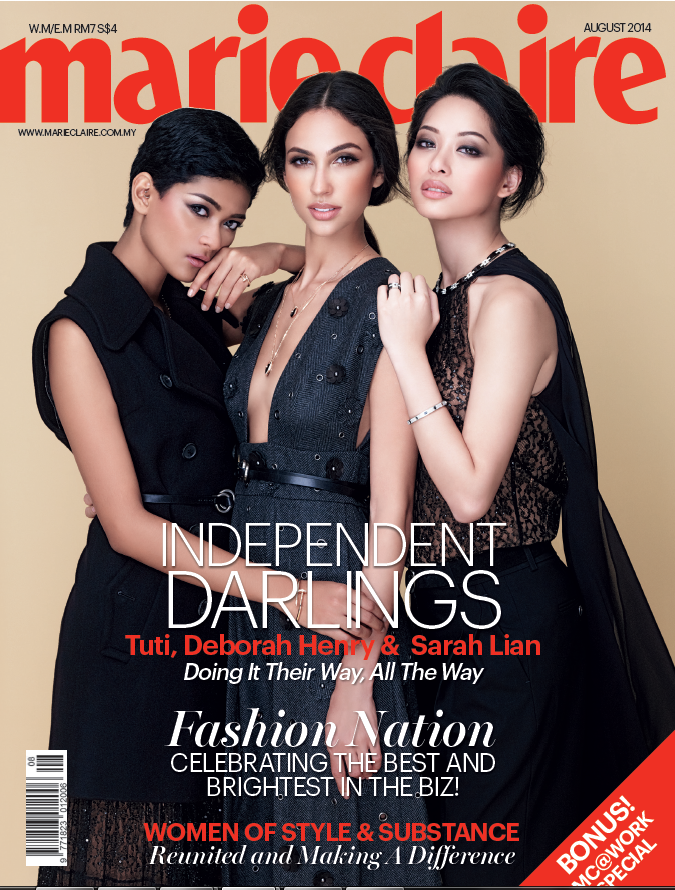Deborah Priya Henry, Sarah Lian and Tuti Mohd Noor for Marie Claire Magazine, Malaysia, August 2014