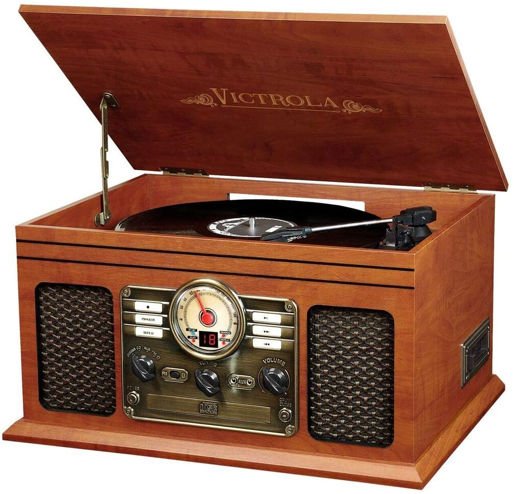 The VTA-200B MH Victrola Nostalgic Classic Wood 6-in-1 Bluetooth Turntable