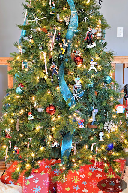 Fun Mix of Ornaments On Our Family Christmas Tree | Christmas Home Tour - One Mile Home Style