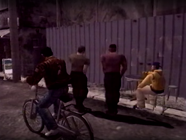 Ryo rides past Tony and Smith (What's Shenmue VHS video still)