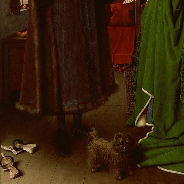 Arnolfini Wedding Portrait Detail Of The Dog And Shoes Van Eyck 1434