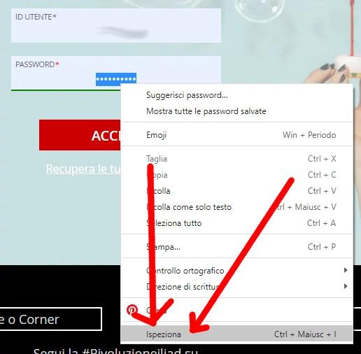 Selezione ipseziano dal menu di Chrome