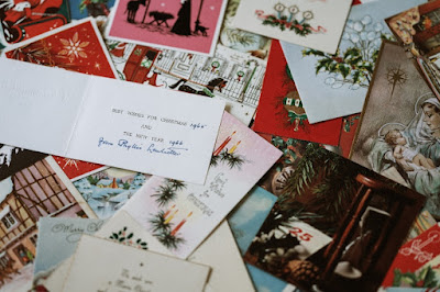 Pile of Christmas holiday greeting cards