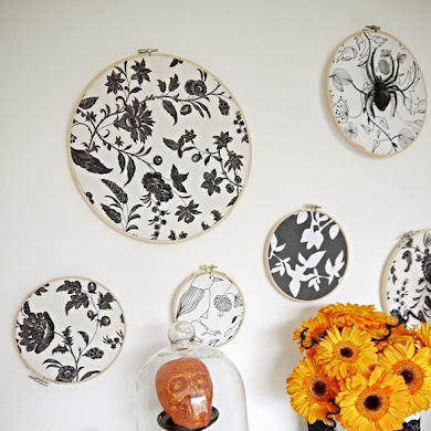 DIY Halloween Backdrop with Embroidery Hoops