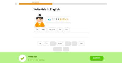 Tampilan Duolingo di Desktop