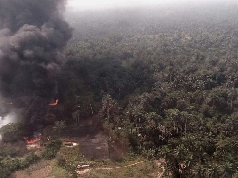 Photos: Air Force destroys illegal refineries in Rivers State