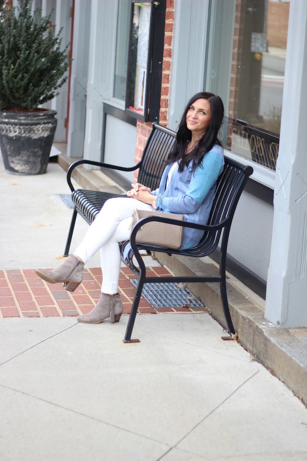 Spring Transition Outfit idea, Epic Chophouse, Mooresville, NC