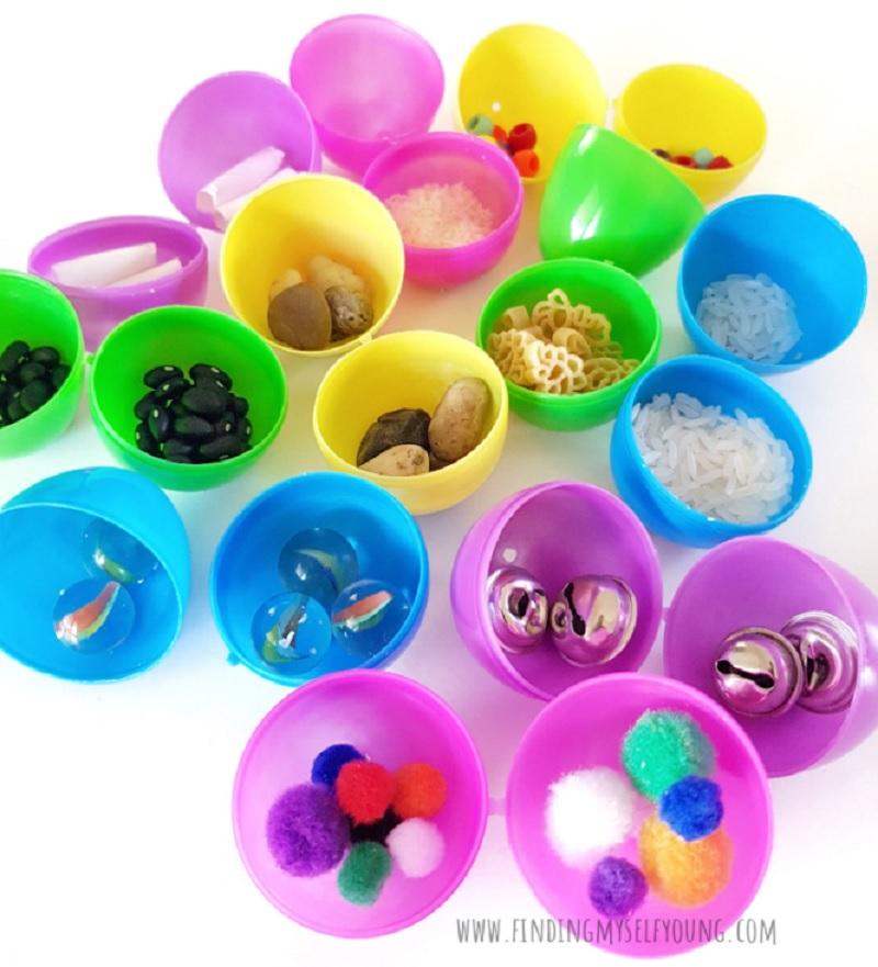 easter egg shaker filler items inside eggs