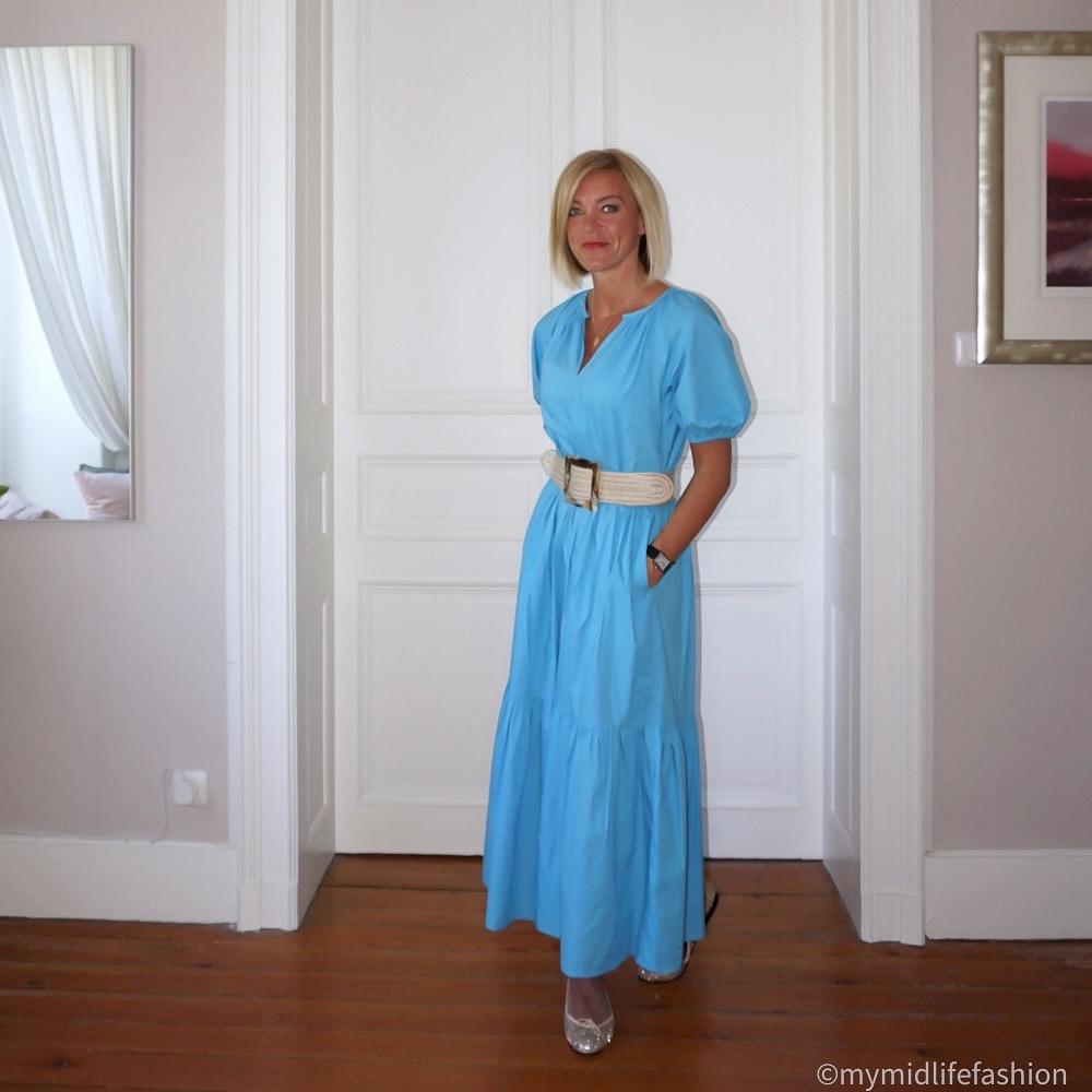 My midlife fashion, Great Plains crisp cotton tiered dress, Zara jute belt, french sold Henrietta glitter ballet pumps