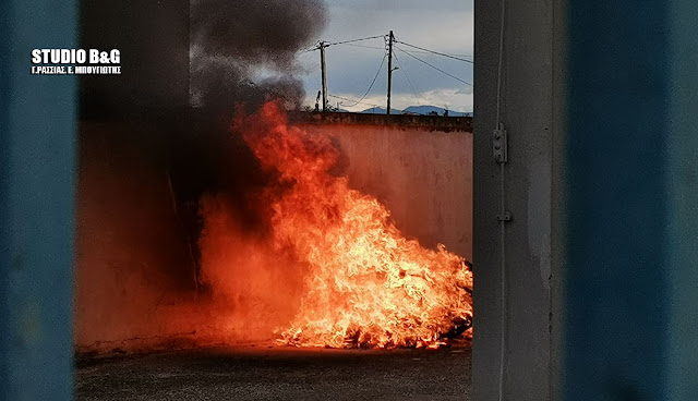 Φωτιά σε αποθήκη του ΟΤΕ στη Νέα Κίο Αργολίδας