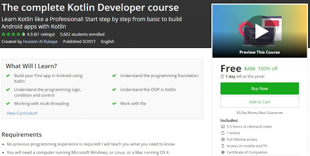 [100% Off] The complete Kotlin Developer course| Worth 200$