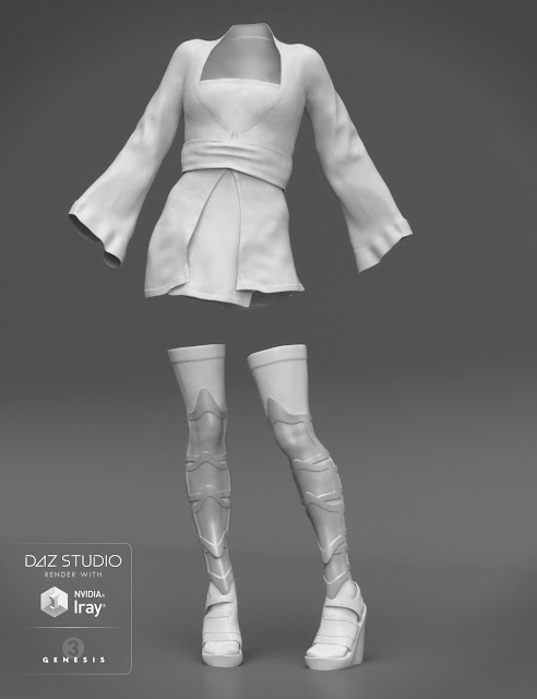 Red Lilies Outfit for Genesis 3 Female