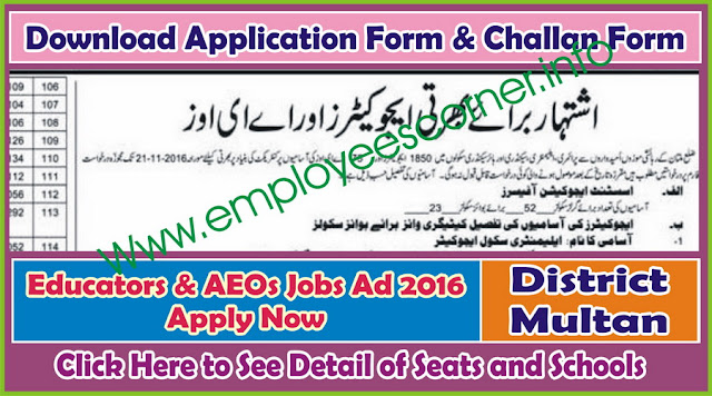 AEOs & Educators Jobs 2016 in District Multan