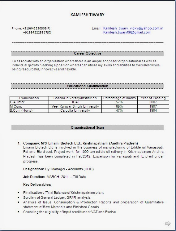 Resume For Freshers Bcom Evoo Tk