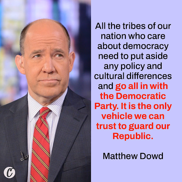 All the tribes of our nation who care about democracy need to put aside any policy and cultural differences and go all in with the Democratic Party. It is the only vehicle we can trust to guard our Republic. — Matthew Dowd, chief strategist for the Bush-Cheney 2004 presidential campaign